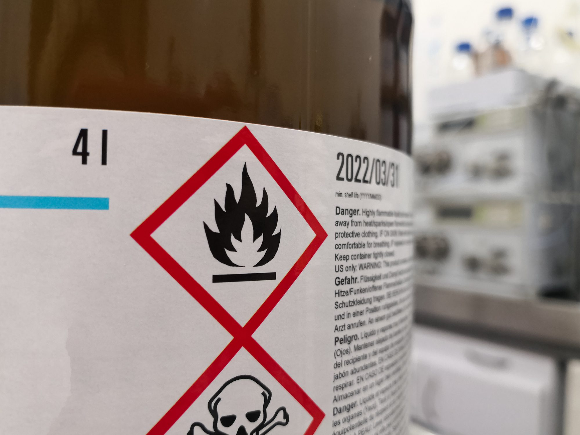 Close up of a chemical hazard symbol