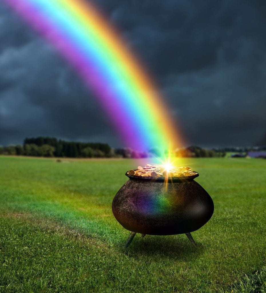 Many folklore stories tell of a pot of gold at the end of the rainbow.